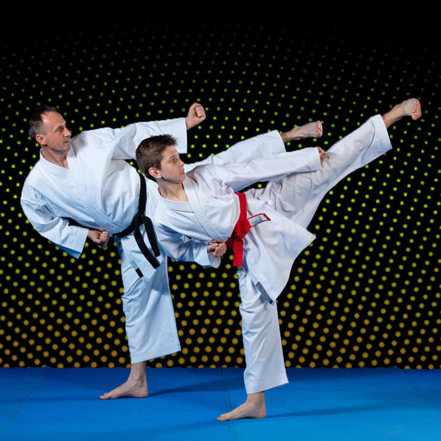 Martial Arts Lessons for Families in Zephyrhills FL - Dad and Son High Kick