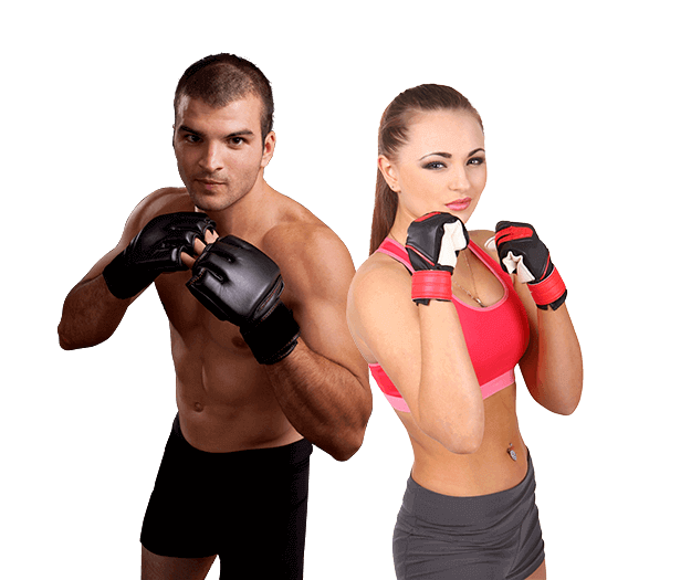 Mixed Martial Arts Lessons for Adults in Zephyrhills FL - Hands up Fitness MMA Man and Woman Footer Banner