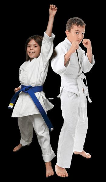 Martial Arts Lessons for Kids in Zephyrhills FL - Happy Blue Belt Girl and Focused Boy Banner